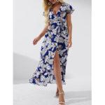 New              High Slit Tropical Print Belted Wrap V-neck Short Sleeves Maxi Dress