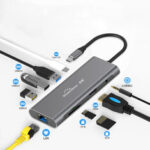 New              Blueendless 9 In 1 USB-C Hub Docking Station Adapter With 3 * USB 3.0 / 60W Type-C PD / 4K HD Display Video Output / RJ45 Network Port / 3.5mm Audio Jack / Memory Card Readers