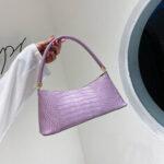 New              Women Solid Crocodile Pattern Satchel Shoulder Bag