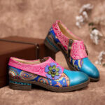New              SOCOFY Retro Leather Paisley Splicing Floral Embossed Comfy Genuine Leather Flat Shoes