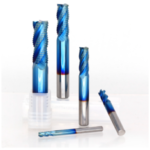 New              Drillpro 4mm-12mm Blue Nano Coating Roughing End Mill 4 Flute Spiral Carbide End Mill CNC Router Bit End Milling Cutter