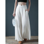New              Women Casual Cotton Back Elastic Waist Loose Wide Leg Pants with Side Pockets