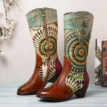 New              SOCOFY Women's Splicing Tribal Pattern Zipper Western Cowboy Boots