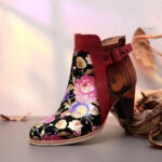 New              SOCOFY Retro Bloomed Flower Combine With Modern Style Letter Elegant Unique High Heel Boots