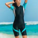 New              Women Trendy Wetsuit Nylon Zip Shorty Swimwear Women Stretch Lady Diving Suit Swimsuit Surfing Jumpsuit