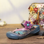 New              SOCOFY Handmade Leather Beaded Floral Adjustable Strap Slip-on Mules Flat Slides Sandals