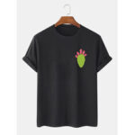 New              Mens 100% Cotton Cactus Printed Round Neck Casual Short Sleeve T-Shirts