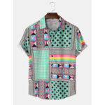 New              Mens Colorful Patchwork Print Short Ethnic Style Sleeve Casual Shirts