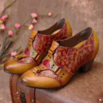 New              SOCOFY Cowgirl Hand Painted Retro Flowers Pattern Rivet Genuine Leather Low Heel Slip On Pumps