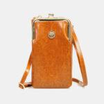 New              Women 9 Card Slots 6.3 Inch Phone Bag Solid Crossbody Bag