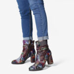 New              SOCOFY Women Genuine Leather Floral Pointed Toe Side-zip Block Heel Boots