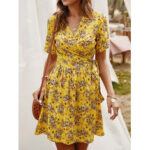 New              Cross Wrap Floral Print Bandage Short Sleeve Dress