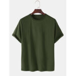 New              Breathable Solid Color Round Neck Short Sleeve Cotton T-Shirts