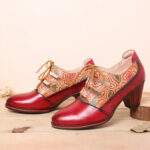 New              SOCOFY Leather Embossed Flowers Splicing Cut out Lace-up Chunky Heel Pumps Dress Shoes