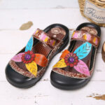 New              SOCOFY Leather Floral Hook Loop Strap Slip on Mules Clogs Flat Sandals