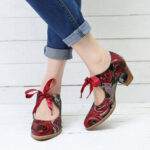 New              SOCOFY Super Comfy Bloom Rose Stitching Lace Up Casual Dress Leather Pumps For Women