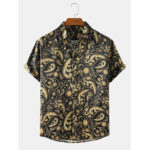 New              Mens Ethnic Style Paisley Print Casual Loose Thin Short Sleeve Shirts