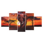 New              5Pcs Elephant Wall Decorative Paintings Canvas Print Art Pictures Frameless Wall Hanging Decor for Home Office
