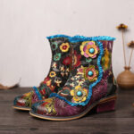New              SOCOFY Retro Hand Painted Genuine Leather Flowers Blue Lace Zipper Flat Short Boots