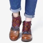 New              SOCOFY Retro Floral Pattern Splicing Adjustable Casual Round Toe Zipper Ankle Boots