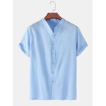 New              Mens Solid Color Cotton Linen Stand Collar Loose Casual Short Sleeve Shirts