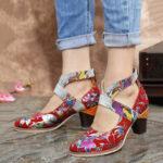 New              SOCOFY Snakeskin Grain Genuine Leather Splicing Flowers Pattern Comfortable Zipper Chunky Heel Pumps