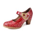 New              SOCOFY Retro Leather Embossed Floral Hook Loop Ankle Strap Chunky Heel Pumps