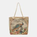 New              Women Peacock Printed Canvas Tote Bag Hangbag