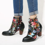 New              SOCOFY Women's Floral Causal Black Warm Lined Stacked Heel Ankle Boots