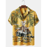 New              Mens Tropical Plant Print Revere Collar Loose Casual Short Sleeve Shirts