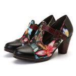 New              SOCOFY Folkways Colorful Flowers Stitching Genuine Leather Retro T-Strap Dress Pumps For Women