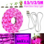 New              0.5M/1M/3M/5M USB LED Grow Strip Light Full Spectrum Indoor Plant Growing Lamp for Garden Vegetable Flower Seeds