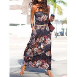 New              Holiday Floral Print Tube Top Sleeveless Maxi Dress