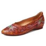 New              SOCOFY Retro Splicing Vine Comfy Genuine Leather Pointed Toe Slip On Flat Shoes