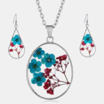 New              Vintage Natural Dried Flower Necklace Earring Set Resin Daisy Necklace Geometric Water Drop Earrings