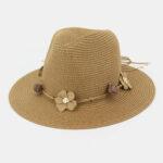 New              Women Sunscreen Travel Beach Sun Hat Flower Decoration Elegant Jazz Hat Straw Hat