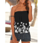 New              Holiday Floral Print Strapless Sleeveless Black Tube Tank Top