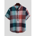 New              Mens Vintage Plaid Color Block Style Stand Collar Half Button Casual Henley Shirts
