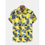 New              Mens Leaves Print Button Up Hawaii Casual Short Sleeve Shirts
