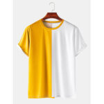 New              Mens Colorblock Breathable & Thin Casual Round Neck T-Shirts