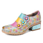 New              SOCOFY Bohemian Bloom Polychromatic Embossed Flower Splicing Floral Genuine Leather Pumps