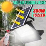 New              300W Solar Powered LED Street Wall Flood Lamp Garden Spotlight with 5M Extension Wire + Remote Control