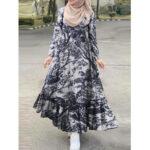 New              Long Sleeve Floral Print Button Down Ruffles Hem Retro Style Maxi Shirt Dress