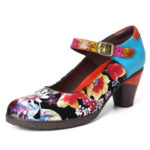 New              SOCOFY Painted Sunflowers Genuine Leather Elegant Ankle Buckle Strap Mary Jane Pumps