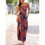 New              Holiday Floral Print Tube Top Sleeveless Ethnic Style Maxi Dress