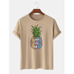 New              Mens 100% Cotton Pineapple Printed Round Neck Casual Short Sleeve T-Shirts