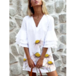 New              Women Floral Print V-Neck Ruffles White Casual Dresses