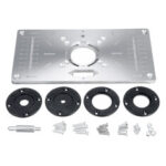 New              Aluminium Alloy Router Table Insert Plate with 4 Rings Screws for Woodworking Benches