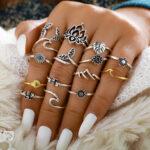 New              15Pcs Vintage Metal Hollow Mermaid Tail Rings Geometric Leaves Sunflower Adjustable Ring Set