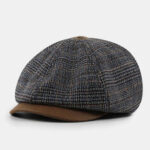 New              Patchwork Color Stitching British Style Retro Short Brim Beret Hat Newsboy Hat Octagonal Hat For Men